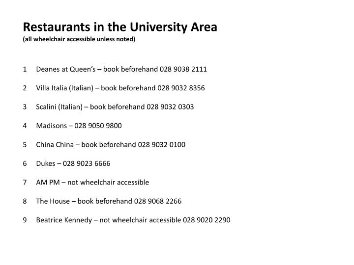Restaurants in the University Area