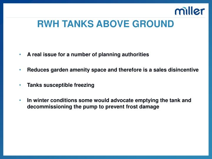 RWH TANKS ABOVE GROUND