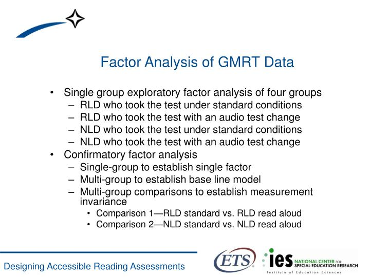 Factor Analysis of GMRT Data