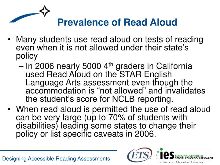 Prevalence of Read Aloud