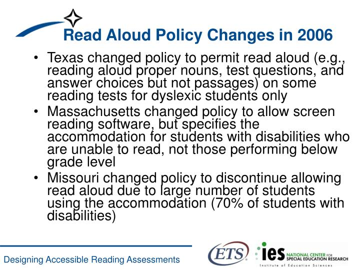 Read Aloud Policy Changes in 2006