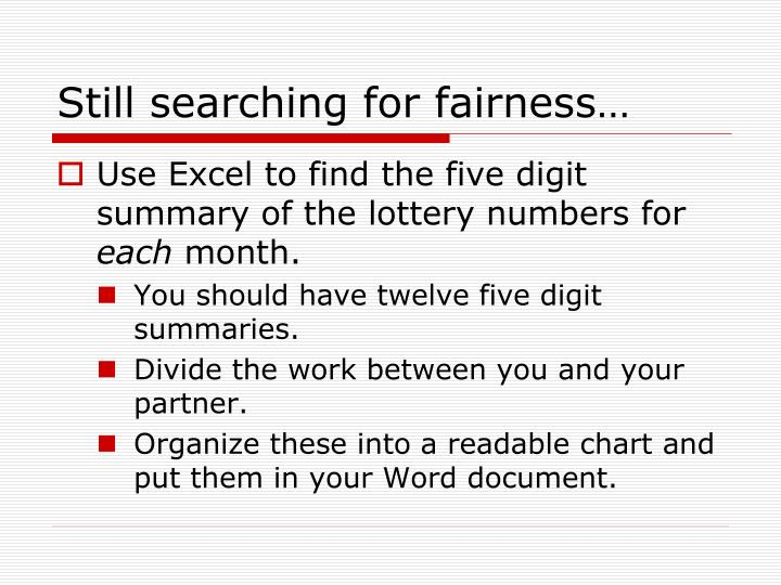 Still searching for fairness…