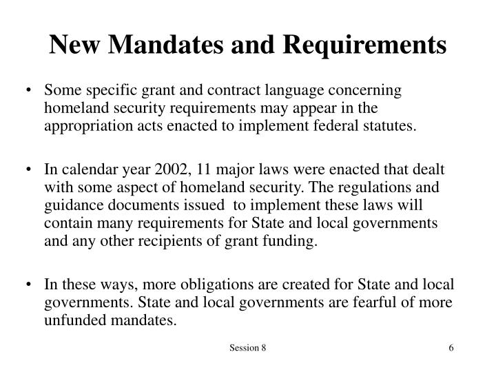 New Mandates and Requirements
