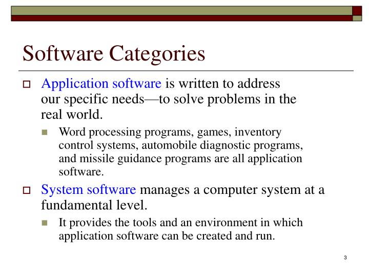 Software categories1