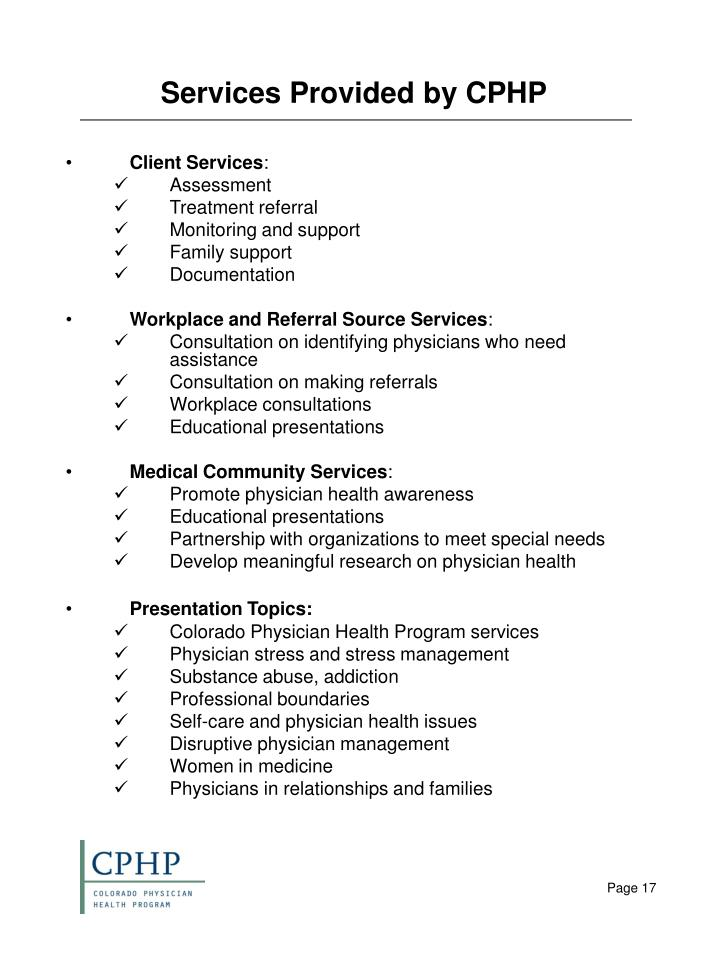 Services Provided by CPHP