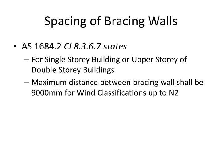 Spacing of Bracing Walls