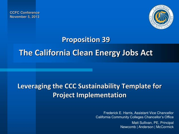 Leveraging the ccc sustainability template for project implementation