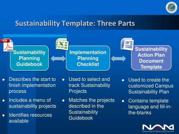 Sustainability Template: Three Parts