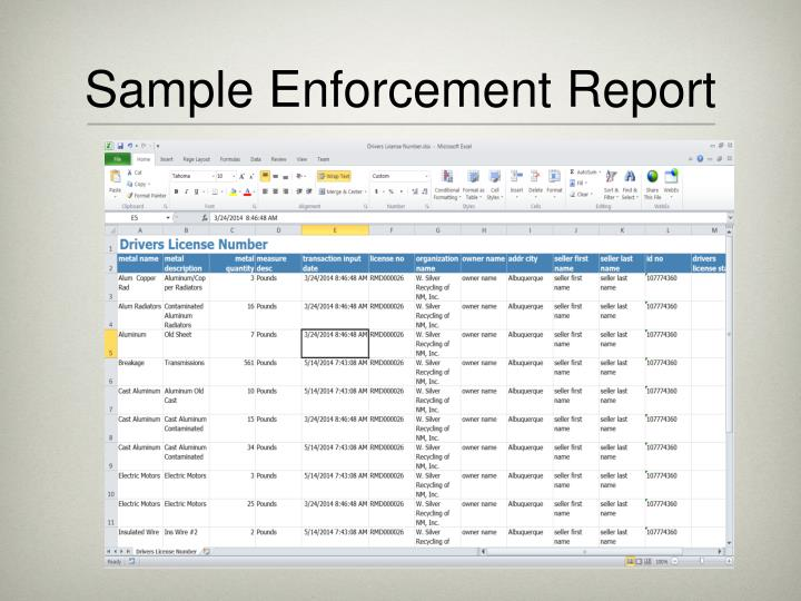Sample Enforcement Report