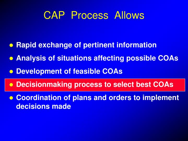 CAP  Process  Allows