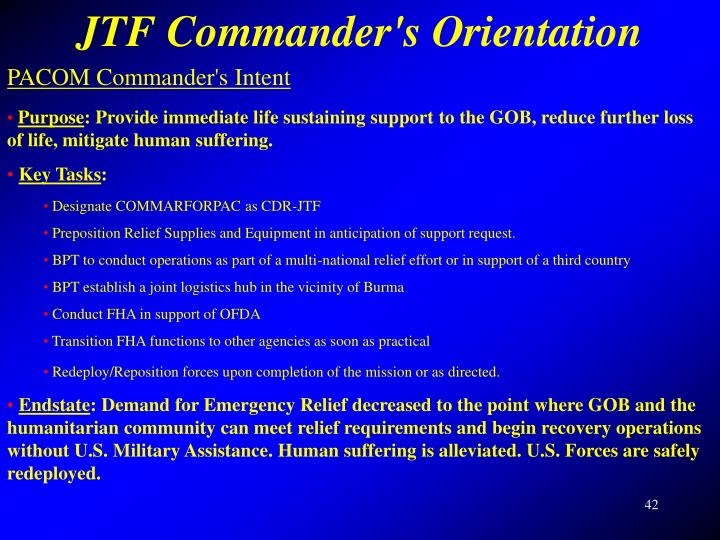 JTF Commander's Orientation