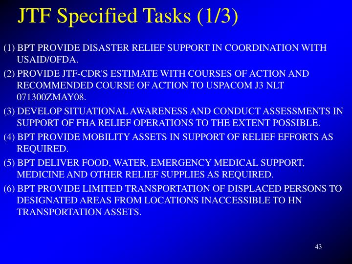 JTF Specified Tasks (1/3)