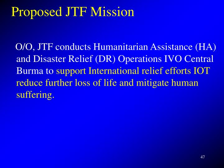 Proposed JTF Mission