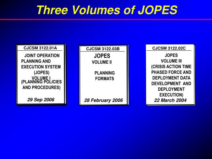 Three Volumes of JOPES