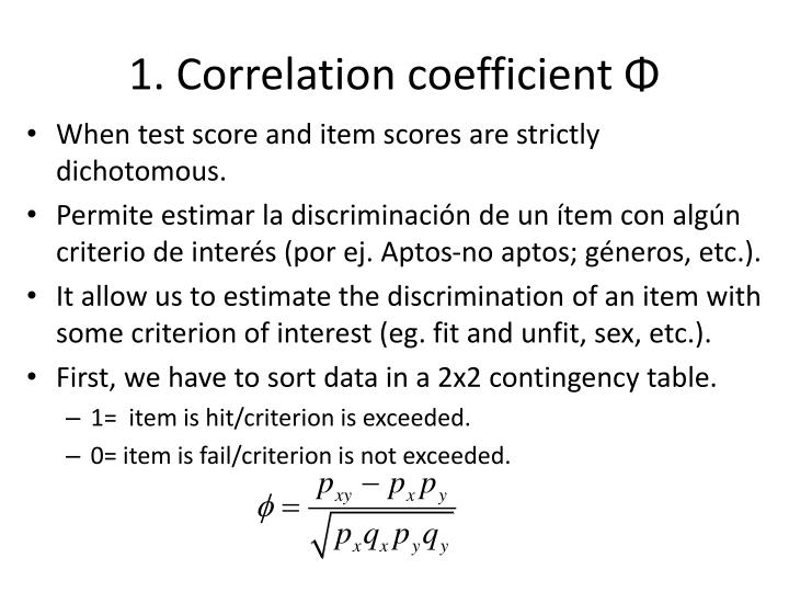 1. Correlation coefficient