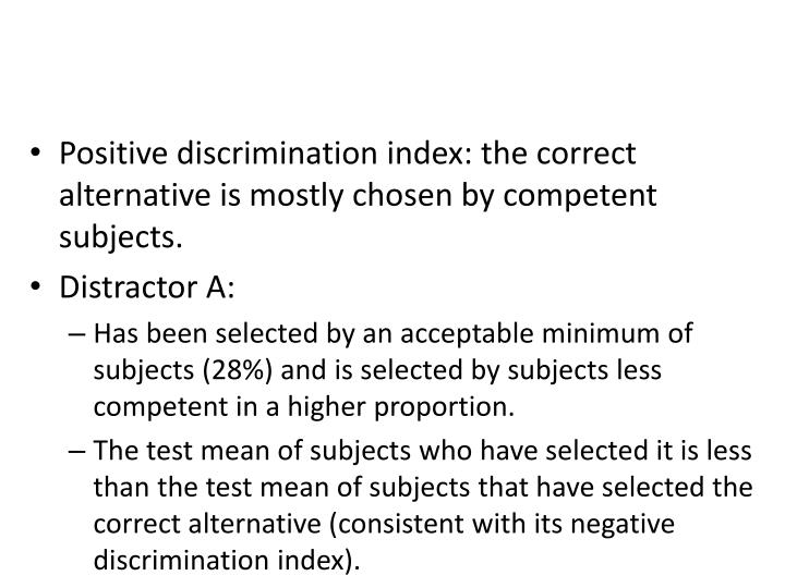 Positive discrimination index: