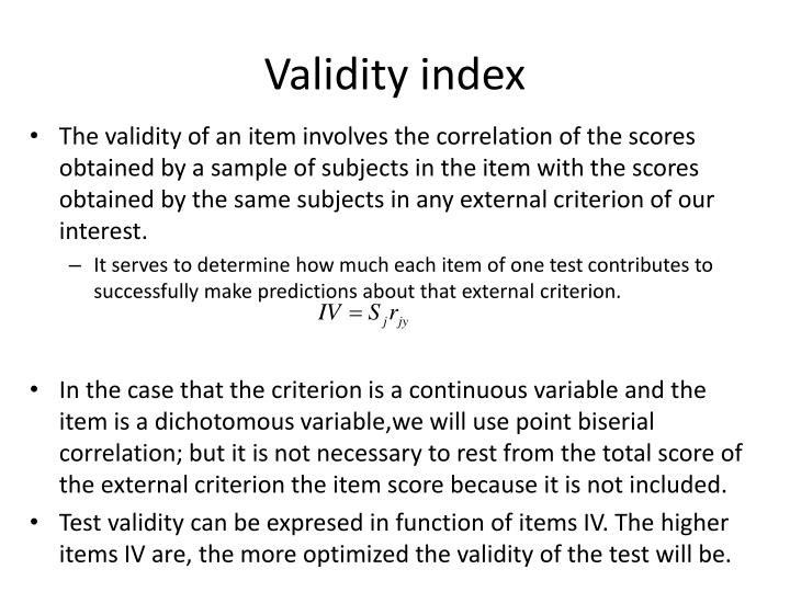Validity index