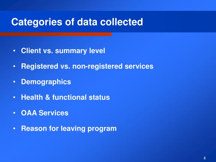 Categories of data collected