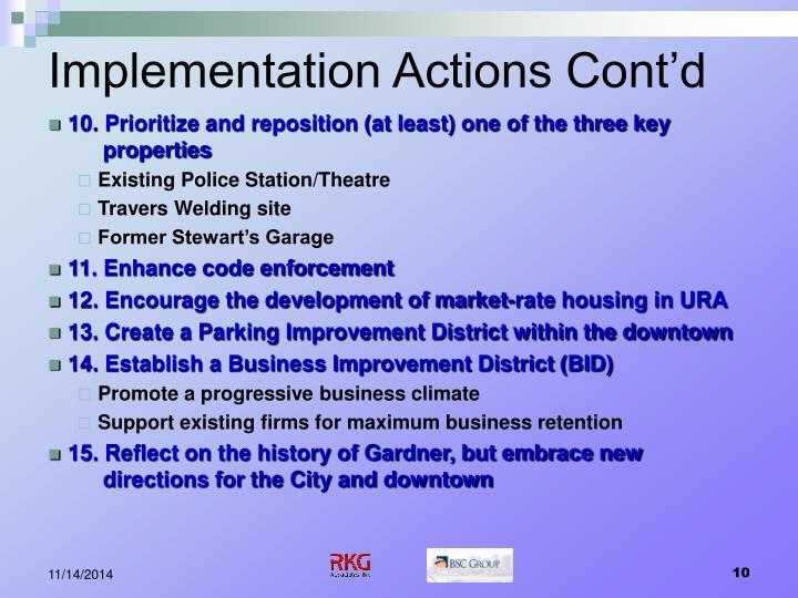 Implementation Actions Cont'd
