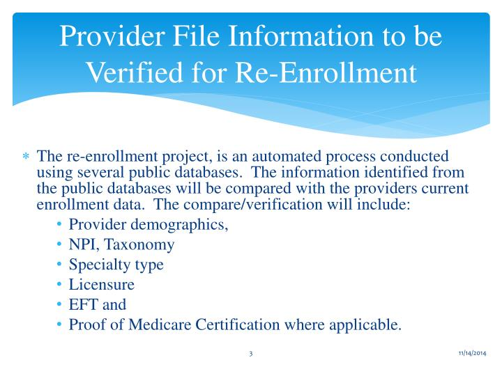 Provider File Information to be Verified for Re-Enrollment