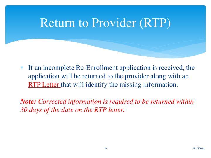 Return to Provider (RTP)