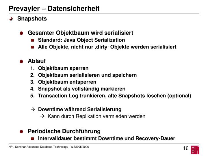 Prevayler – Datensicherheit