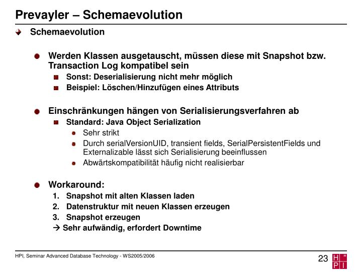 Prevayler – Schemaevolution