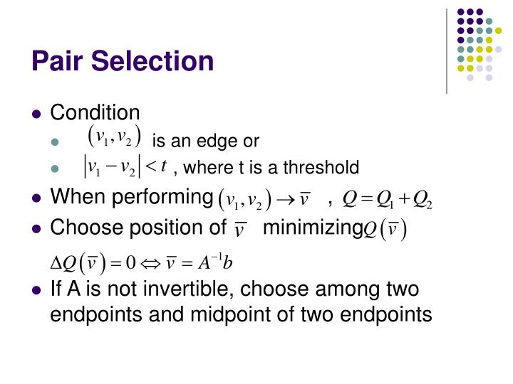 Pair Selection
