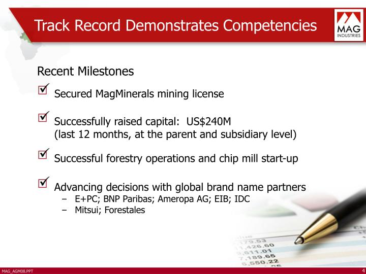 Track Record Demonstrates Competencies