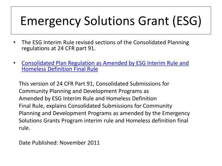 Emergency Solutions Grant (ESG)