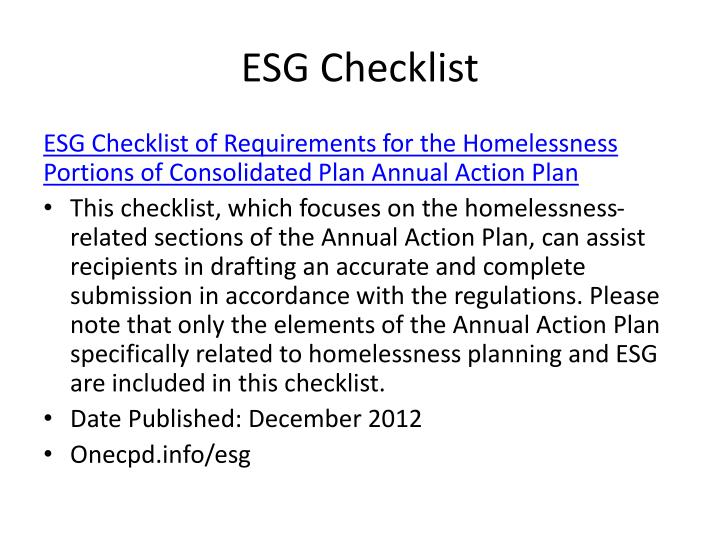 ESG Checklist
