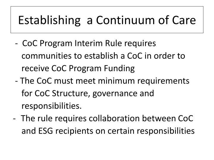 Establishing  a Continuum of Care