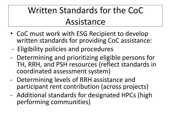 Written Standards for the