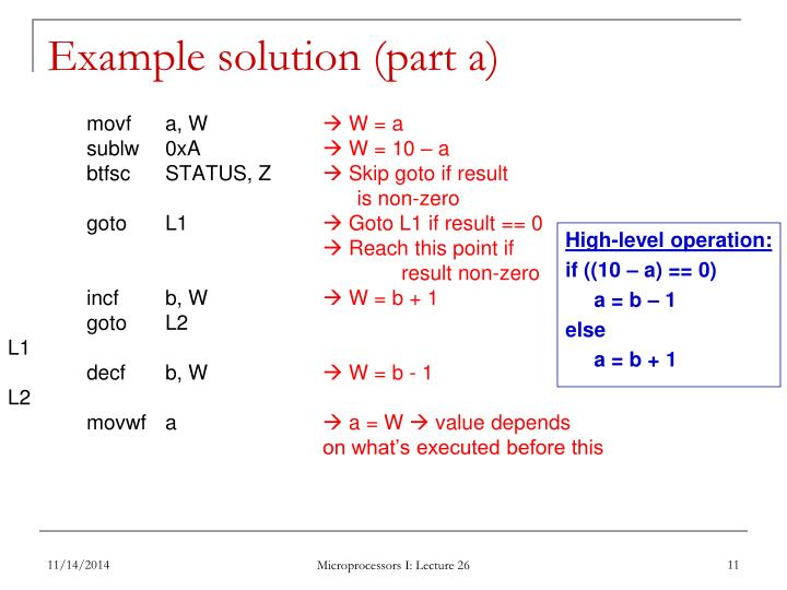 Example solution (part a)