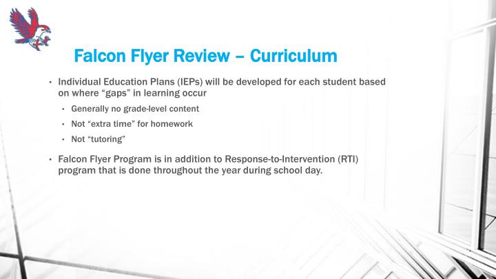 Falcon Flyer Review – Curriculum