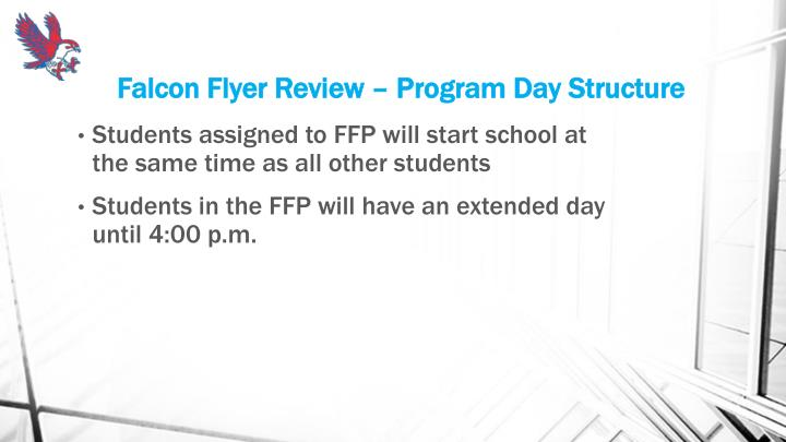 Falcon Flyer Review – Program Day Structure