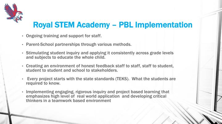 Royal STEM Academy – PBL Implementation