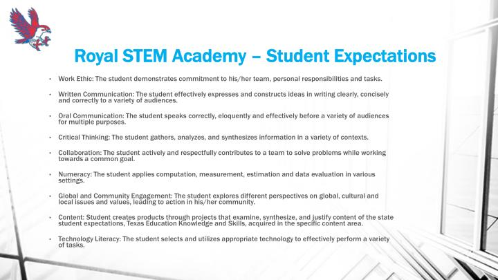 Royal STEM Academy – Student Expectations