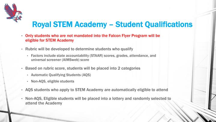 Royal STEM Academy – Student Qualifications