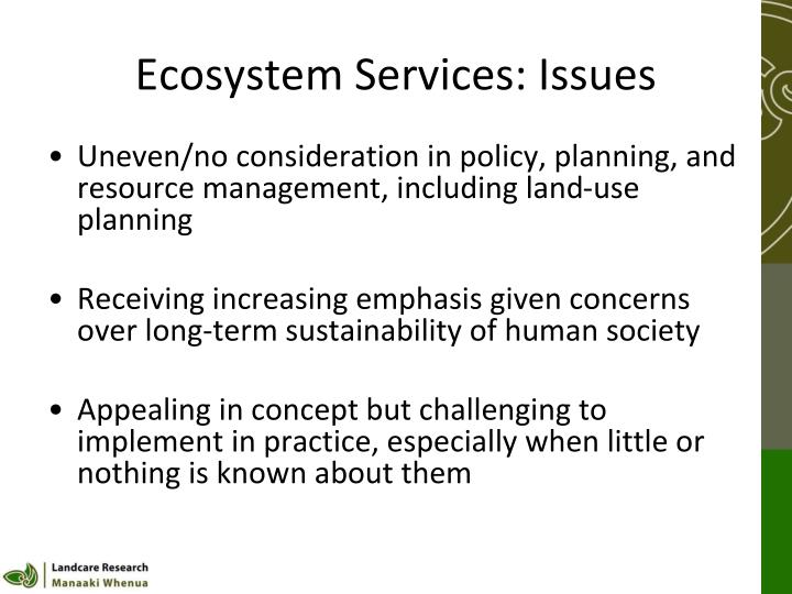 Ecosystem Services: Issues