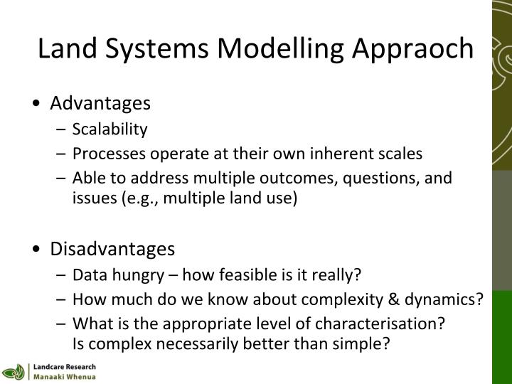 Land Systems Modelling Appraoch