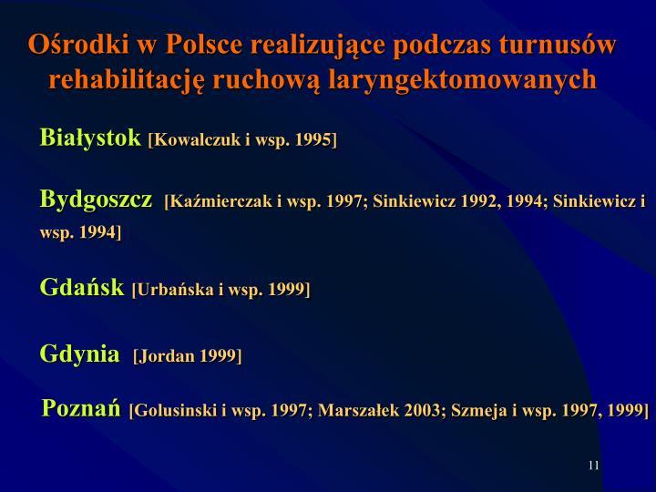 Ośrodki w Polsce realizujące podczas turnusów rehabilitację ruchową laryngektomowanych