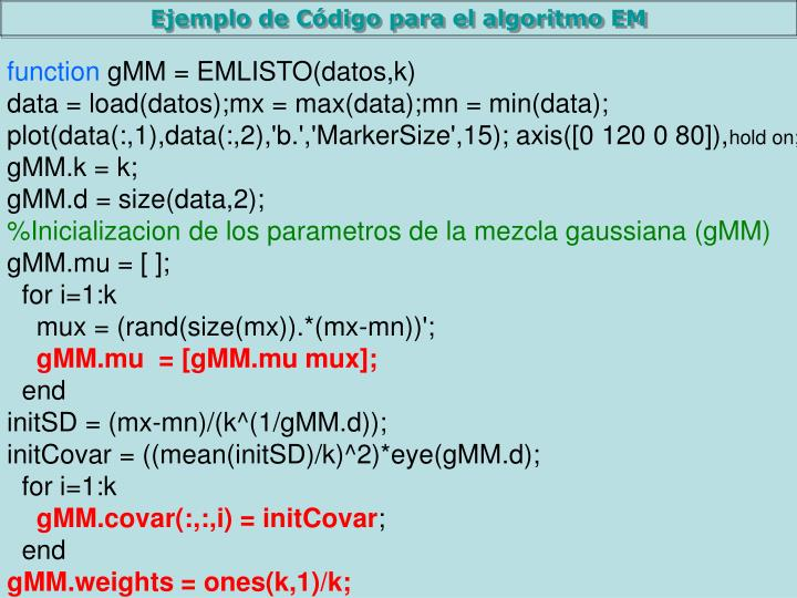 Ejemplo de Código para el algoritmo EM