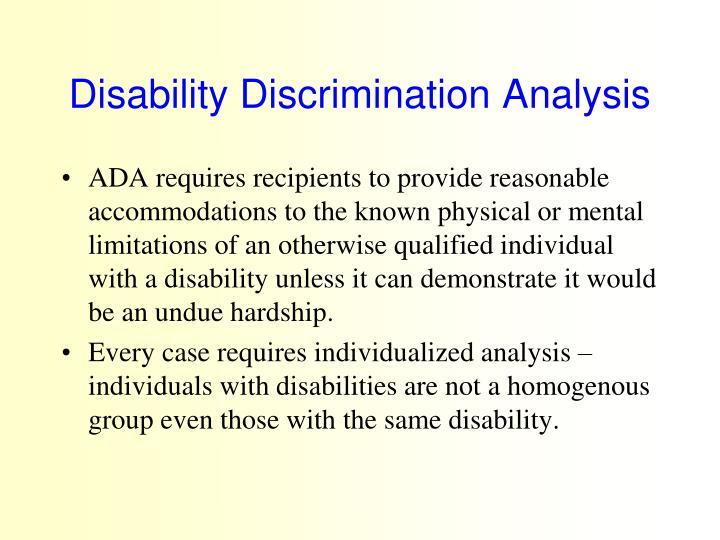 Disability Discrimination Analysis