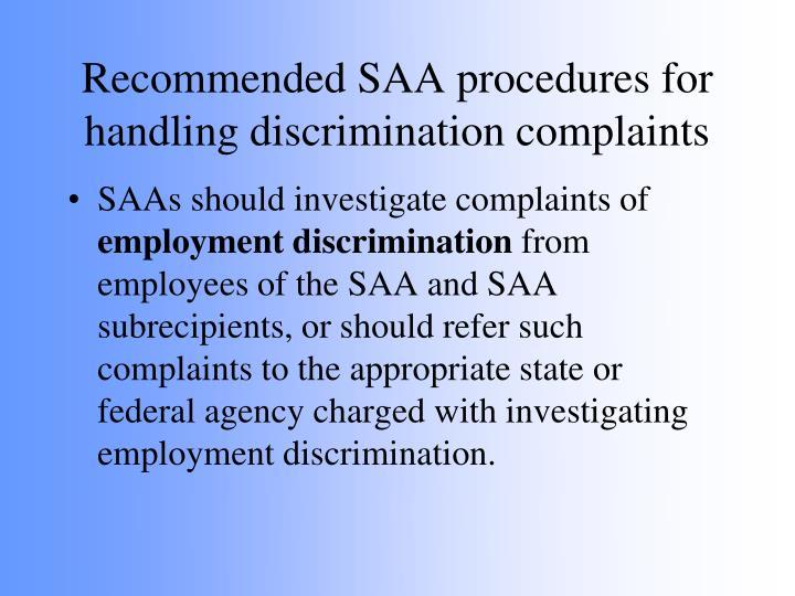 Recommended SAA procedures for handling discrimination complaints