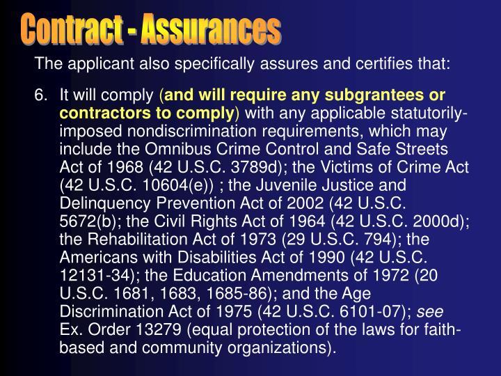 Contract - Assurances