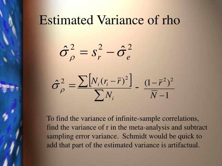 Estimated Variance of rho