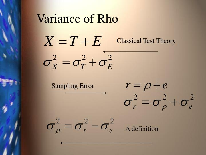 Variance of Rho