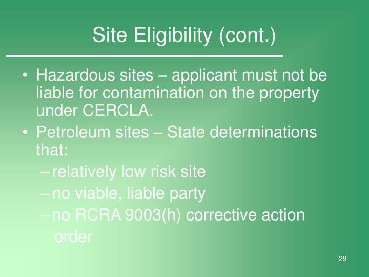 Site Eligibility (cont.)