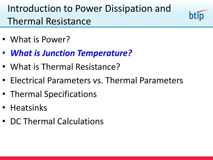 Introduction to Power Dissipation and Thermal Resistance